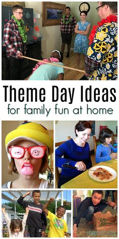 Are the days starting to blend together? Infuse some fun and laughter even if you're stuck inside using these theme day ideas for families at home. games for family Family Theme, Family Fun Night, Family Day, Family Games, Family Activities, Summer Fun List, Summer Kids, Summer Bucket, Games For Toddlers