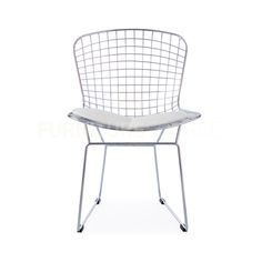 Harry Bertoia Style Wire Side Chair - White Pad