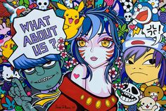 """Oxana Prantl - """"What about us"""" - Acrylic painting on canvas, cm. Pretty Art, Acrylic Painting Canvas, This Is Us, Comic Books, Comics, Pop Art, Anime, Comic Book, Anime Shows"""