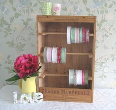 Wooden wine box crate - Ribbon Shelf / craft display / sewing / Florist -French