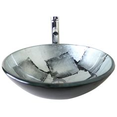 Modern Fashion Round Silver-Grey Tempered Glass Basin High-bending Faucet Set