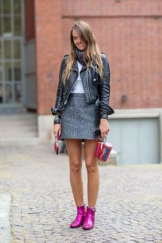 The Anti-Teenage Approach To Wearing Miniskirts #refinery29  http://www.refinery29.com/miniskirt-outfits#slide-1  Wear a textured mini with ankle booties and your favorite shrunken jacket.For a similar style, try: