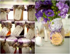 Make your own Jelly Wedding Favors. Save all the jars you can through out the year and you won't need to buy any. And the eclectic jar sizes will only add to the quirkyness.  You can use the big jars as vases!