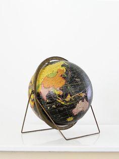 mid century Cram's black world globe - 86 Vintage