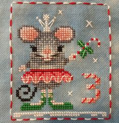 Animal Advent Calendar Day 3 Counted Cross Stitch Mary Mouse. 2016