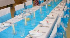 pictures of turquoise table runners at wedding | Turquoise Blue organza table runner for main table (6.75 x .43 metres)