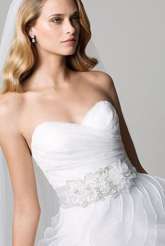 Watters 19903 Bridesmaid Belt Ivory beaded pearl and organza floral double faced satin ribbon belt. Sold on style 19819 Samina and 19558 Suri. #timelesstreasure