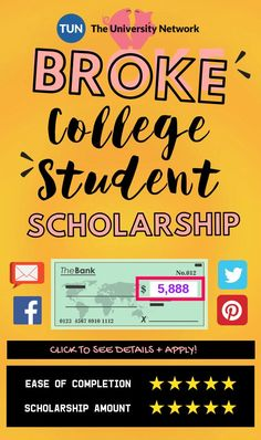 Broke College Student Scholarship The University Network is part of Student scholarships - Go to the Student Save Engine How to apply 1 Create a brief essay, video or infographic that tells us about The best deal you found using the Student Save Grants For College, Financial Aid For College, College Planning, Online College, Education College, College Tips, College Checklist, Education Degree, College Dorms