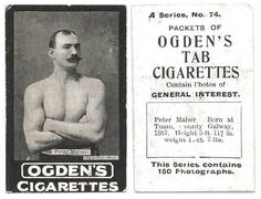 The nowadays 'not-so-popular' hobby of collecting cigarette cards often throws light on a forgotten hero of the past and such is a card of Peter Maher – known as 'The Irish Giant'… Day Of Death, Heavyweight Boxing, Steve O, Popular Hobbies, Boxing Champions, Athletic Clubs, Body Shots, Irish Men