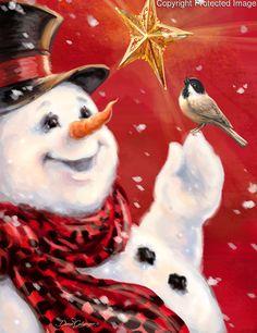 Dona Gelsinger-snowman and bird Snowmen Paintings, Cross Paintings, Christmas Paintings, Snowman Images, Snowmen Pictures, Frosty The Snowmen, Cute Snowman, Christmas Canvas, Christmas Snowman