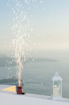 #Fireworks in Santorini wedding ceremony