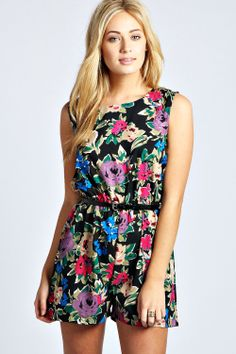 Jade Bold Floral Belted Sleeveless Playsuit at boohoo.com