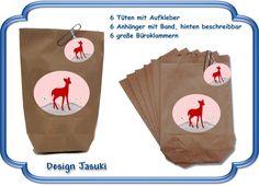 6er Set Mitgebsel Tüten Reh rot,Kinder Geburtstag von Jasuki auf DaWanda.com