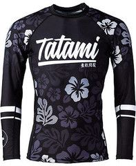 TATAMI HIBISCUS RASH GUARD FOR NOGI JIU JITSU MMA AND SUBMISSION WRESTLING A strikingly beautiful jiu jitsu rash guard with a digital hibiscus print design. Made from a 85/15 polyester & spandex mix,