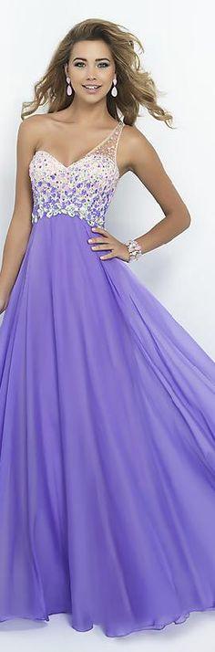 Embellished Chiffon Lilac Princess One-Shoulder Natural Prom Dress In Stock kiyadresses16006wydd #longdress #promdress