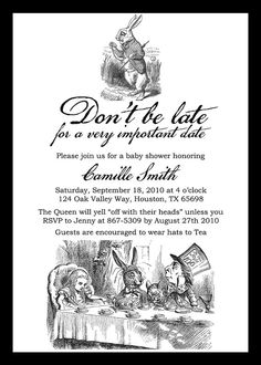 Alice in Wonderland Baby Shower Invitation by miragreetings. A cute spin on the tea party theme...