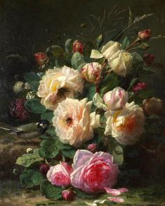 "Jean-Baptiste Robie ""A still life with roses, titmouse and bumblebee"" Century Victorian Flowers, Vintage Flowers, Old Paintings, Beautiful Paintings, Art Floral, Jean Baptiste, Art Moderne, Fruit Art, Painting & Drawing"