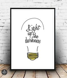 Bob Marley, Art Print, Instant Download, Light up the darkness, Wall Decor, Yellow, Black and White, Quotes
