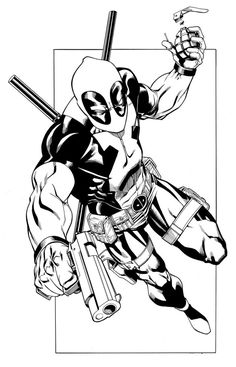 Deadpool is a fictional character, an anti-hero and a mercenary appearing in the Marvel Comics. Deadpool is a villain and thus have a special appeal to kids. Superhero Coloring Pages, Spiderman Coloring, Marvel Coloring, Coloring Pages To Print, Coloring Pages For Kids, Colouring Pages, Adult Coloring, Deadpool Tattoo, Deadpool Art
