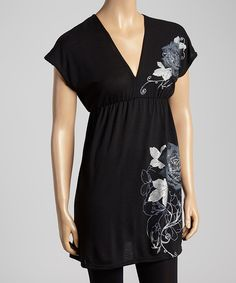 Look at this Black Floral Empire-Waist Tunic on #zulily today!
