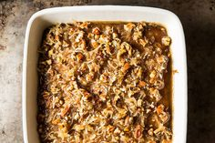 Maple Oatmeal Princess Coffee Cake Despite having only a moderate amount of fat, it has a delicious, moist crumb...the crowning touch is the glaze: an addictive mix of more maple syrup, butter, coconut, and pecans...