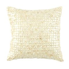 Fontaine Shell Pillow | Ballard Designs Neutral cream cotton and iridescent shell tiles. They catch the light for added shimmer. Would be beautiful in candle light!!