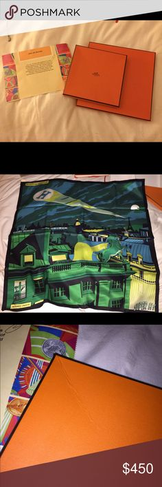 """Hermes Minuit au Faubourg silk scarf NWOT Brand new never been worn, 100% silk, AUTHENTIC HERMES, 28""""x28"""" Hermes Accessories Scarves & Wraps"""