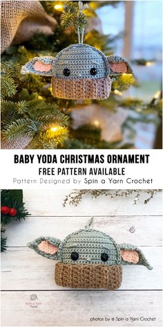 Baby Yoda Ornament Still can't get enough of Baby Yoda? Add him to your Christmas tree this holiday season with this quick and easy crochet ornament pattern! crochet pattern for baby yoda Crochet Simple, Cute Crochet, Crochet Yarn, Crochet Toys, Crotchet, Minion Crochet, Doilies Crochet, Yarn Projects, Knitting Projects