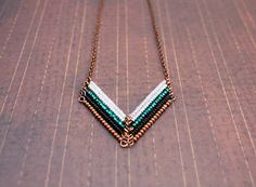Leading to the Sea - Copper Beaded Chevron Necklace, Tribal Arrow Necklace, Bohemian