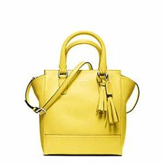 Coach - Legacy Leather Mini Tanner Sv/lemon,COACH KRISTIN ELEVATED LEATHER SAGE ROUND SATCHEL