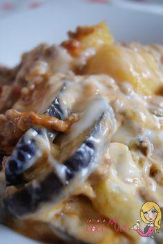 Pastel de berenjena y patata gratinada