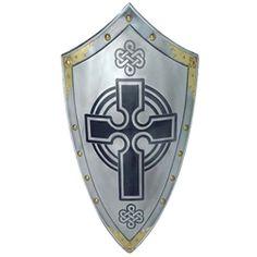 Templar Shield with Cross by Marto of Toledo Spain. Symbol of the Knights Templar. Steel medieval knight shield with gold rivets. Part of the Templar armor. Knight In Shining Armor, Knight Armor, Dark Knight, Knights Hospitaller, Knights Templar, Medieval Armor, Medieval Fantasy, Les Runes, Rose Croix