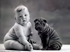 Two little cuties, baby and sharpei / photo: Anne Geddes on Photobucket So Cute Baby, Cute Kids, Pretty Baby, Chubby Babies, Funny Babies, Cute Babies, Funny Kids, Babies Pics, Baby Pictures