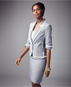 Evan Picone Suit, Single-Button Tweed Jacket & Pencil Skirt - Womens Suits & Suit Separates - Macy's