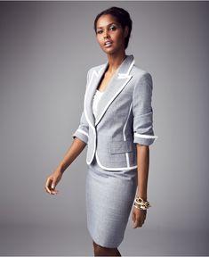 Evan Picone Suit, Single-Button Tweed Jacket & Pencil Skirt - Womens Suits & Suit Separates - Macy's