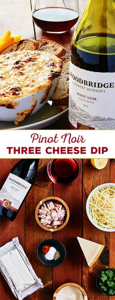 For an appetizer that will sure to be a hit at your next holiday party, try this Pinot Noir Three Cheese Dip from Woodbridge by Robert Mondavi. This dip is easy-to-make, ready under 25 minutes and is perfect with flatbread or crackers!  Please enjoy our wines responsibly.  � 2016 Woodridge Wines, Acampo, CA