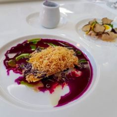 Shaved foie gras surrounded by pretty beet root #CZFoodBev At Pavillon in Brno Czech Republic #Food #Travel #FoodTravel