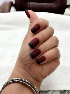 Math dark red with black French manicure