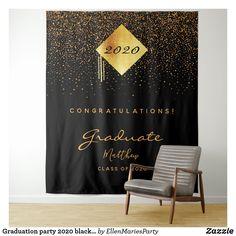 Shop Graduation party 2020 black gold confetti graduate tapestry created by EllenMariesParty. Graduation Party Planning, Graduation Ideas, Dance Decorations, Congratulations Graduate, Party Background, Black White Gold, Gold Confetti, Gold Party, Backdrops For Parties