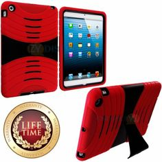 Amazon.com: myLife (TM) Red + Black Shockproof Survivor (With Built In Kickstand) Durable Ridge Case for Apple iPad Mini Touch Tablet (Soft ...