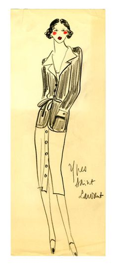 Original Sketch by Yves Saint Laurent by FIT Library Department of Special Collections, via Flickr