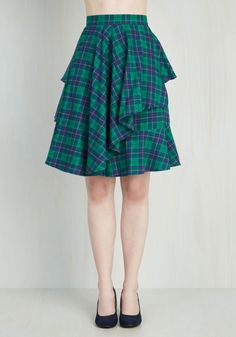 Elegant and Intelligent Skirt in Tartan. Whether you're off to a book reading or a cocktail hour at the library, this ModCloth-exclusive skirt by Myrtlewood makes your intelligence known to all you encounter! #multi #modcloth