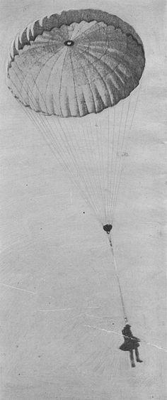A British Observer Parachuting from a Balloon, via Flickr. Ww1 History, World History, Military History, World War One, First World, Military Drawings, Paratrooper, Armada, British Army