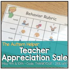 Teacher Appreciation Sale! Grab all Autism Helper resources at 28% off May 9th and 10th with coupon code THANKYOU17
