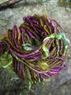 Handspun yarn handpainted yarn art yarn  Bluefaced by Yarnarchy, $30.00
