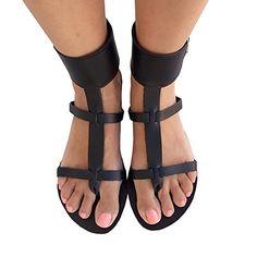 53354e246b45b2 NEW Womens Black Open Toe Flats Crisscross Strappy Sandals Gladiator Ankle  Buckle sandias any good