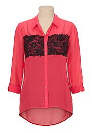 High-low Contrast lace button front blouse - maurices.com