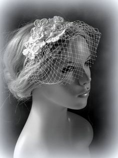 Bridal Blusher Birdcage with Wedding White by svitlanasbridalveils, $45.95