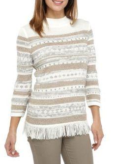Alfred Dunner Women's Petite Eskimo Kiss Fringe Biadere Sweater - Multi - Ps