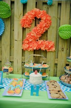 Such a cute setup from Kara's Party Ideas - 2 year olds birthday party set up- get the table cloth for less than dollar stores!